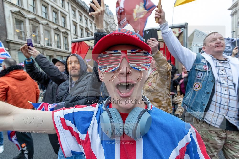 Brexit supporters celebrate in London, Friday, Jan. 31, 2020. Britain officially leaves the European Union on Friday after a debilitating political period that has bitterly divided the nation since the 2016 Brexit referendum. (Photo/Vudi Xhymshiti)