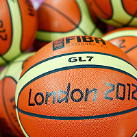 06 August 2012: The official Molten basket ball is seen prior to the 126-97 Team USA victory over Team Argentina, during the men's basketball preliminary, at the Basketball Arena, in London, Great Britain.