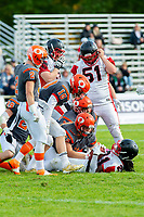 KELOWNA, BC - OCTOBER 6: Jack Proskow #52 of Okanagan Sun tackles Andre Goulbourne #21 of the VI Raiders at the Apple Bowl on October 6, 2019 in Kelowna, Canada. (Photo by Marissa Baecker/Shoot the Breeze)