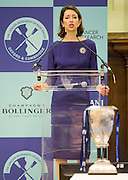 London. Great Britain.  <br /> Chief executive of Newton Investment Management, Helena MORRISSEY, address the press at the  <br /> 2016 Varsity Boat Race. Crew announcement and  crew weigh-in. Central Hall. Westminster Central London,  Tuesday  01/03/2016  <br /> <br /> [Mandatory Credit, Peter Spurrier/ Intersport Images].
