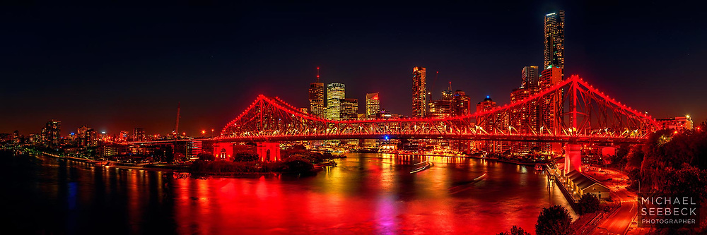 A high resolution panoramic photograph of Brisbane's Story Bridge captured at nightfall.<br /> <br /> Code: HAQS0001<br /> <br /> Limited Edition of 125