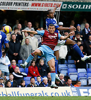 Photo: Steve Bond/Sportsbeat Images.<br /> Birmingham City v Aston Villa. The FA Barclays Premiership. 11/11/2007. Wilfred Bouma (front) is outclimbed by Cameron Jerome (back)