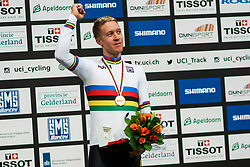 March 2, 2018 - Apeldoorn, Netherlands - Gold medalist Australian Cameron Meyer poses on the podium after the men's points race final during the UCI Track Cycling World Championships in Apeldoorn on March 2, 2018. (Credit Image: © Foto Olimpik/NurPhoto via ZUMA Press)