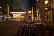 curfew from 9 pm during corona pandemic lockdown on May 5th. 2021. The closed restaurant Adaccio on the street Hohenzollernring, Cologne, Germany.<br /> <br /> Ausgangssperre ab 21 Uhr waehrend des Corona Lockdowns am 5. Mai 2021. Das geschlossene Restaurant Adaccio am Hohenzollerning, Koeln, Deutschland.
