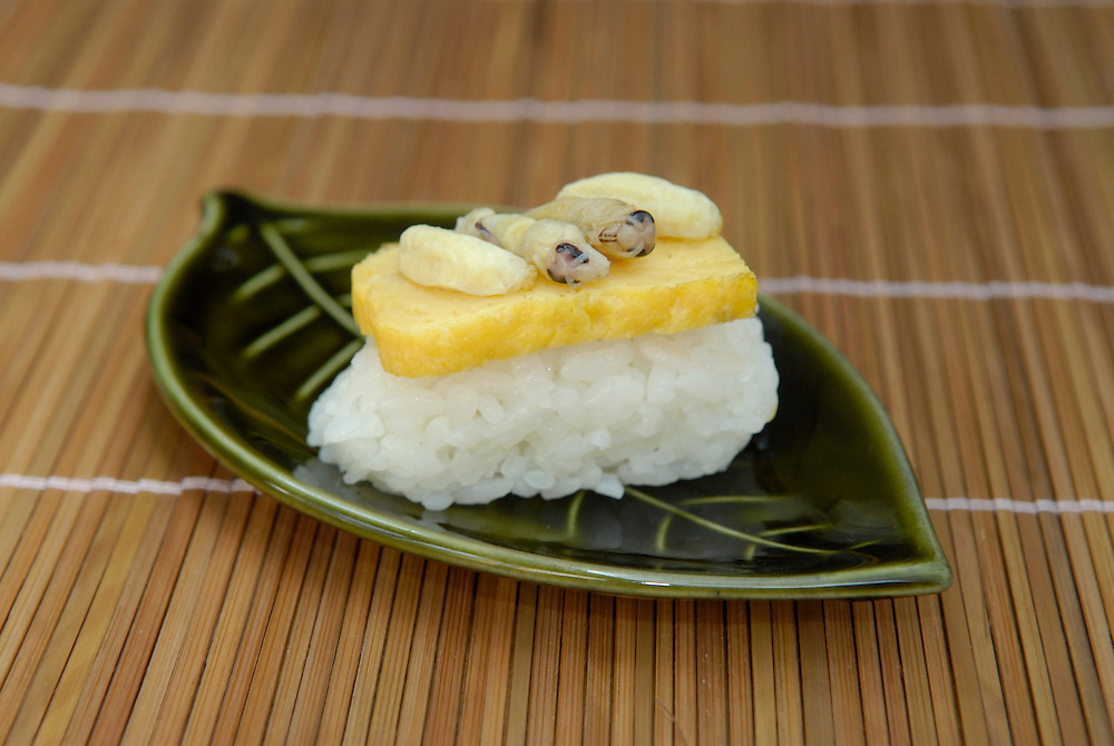 """Asian hornet larvae sushi. Tokyo resident Shoichi Uchiyama is the author of """"Fun Insect Cooking"""". His blog on the topic gets 400 hits a day. He believes insects could one day be the solution to food shortages, and that rearing bugs at home could dispel food safety worries."""
