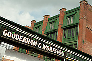 Restored sign of Gooderham & Worts Limited in Toronto's Distillery District
