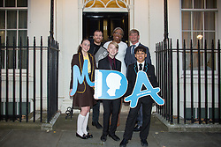 Tara Whelan, Ryan Wiggins and Junior Frood (winners of the Diana Award, left to right, front row) with, (back row) Thomas Knights, Tessy Ojo and Elliot Freize posing for photos outside 11 Downing Street to celebrate seventeen years of the Diana Award. This award, set up in memory of Princess Diana, today has the support of both her sons the Duke of Cambridge and Prince Harry. Photo date: Wednesday, October 19, 2016. Photo credit should read: Richard Gray/EMPICS Entertainment