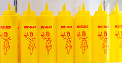 Martin Parr <br /> Photography exhibition <br /> Only Human <br /> At the National Portrait Gallery, London, Great Britain <br /> Press view <br /> 6th March 2019 <br /> Mustard bottles in the merch shop <br /> <br /> <br /> Martin Parr (Photographer) <br /> Speaks to journalists ahead of giving a guided tour of his work. <br /> <br /> Photograph by Elliott Franks