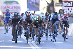 March 15, 2019 - Foligno, Perugia, Italia - Foto LaPresse/Fabio Ferrari .15/03/2019 Pomarance (Italia) .Sport Ciclismo.Tirreno-Adriatico 2019 - edizione 54 - da Pomarance a Foligno  (226 km) .Nella foto: Elia Viviani (Deceuninck - Quick-Step) 2 - Peter Sagan (Bora - Hansgrohe) .3 - Fernando Gaviria Rendon (UAE Team Emirates)​..Photo LaPresse/Fabio Ferrari .March 15, 2018 Pomarance (Italy).Sport Cycling.Tirreno-Adriatico 2019 - edition 54 - Pomarance to Foligno (140 miglia) .In the pic:Elia Viviani (Deceuninck - Quick-Step) 2 - Peter Sagan (Bora - Hansgrohe) .3 - Fernando Gaviria Rendon (UAE Team Emirates)​ (Credit Image: © Fabio Ferrari/Lapresse via ZUMA Press)