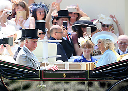 The Prince of Wales and The Duchess of Cornwall arriving during day two of Royal Ascot at Ascot Racecourse.