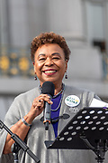 San Francisco, USA. 19th January, 2019. The Women's March San Francisco begins with a rally at Civic Center Plaza in front of City Hall. U.S. Representative  Barbara Lee, who represents California's 13th congressional district, addresses the crowd. Credit: Shelly Rivoli/Alamy Live News