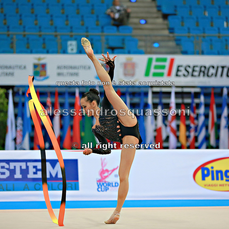 "Lu Serena during ribbon routine at the International Tournament of rhythmic gymnastics ""Città di Pesaro"", April 11,2015. Serena born on April 30, 1998 in  Minneapolis, is a rhythmic gymnast of Usa.<br />