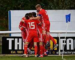 BANGOR, WALES - Saturday, November 17, 2018: Wales' Christian Norton celebrates scoring the second goal with team-mates, to make the score 2-1, during the UEFA Under-19 Championship 2019 Qualifying Group 4 match between Sweden and Wales at the Nantporth Stadium. (Pic by Paul Greenwood/Propaganda)