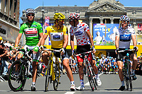 CYCLING - TOUR DE FRANCE 2010 - REIMS (FRA) - 07/07/2010 - PHOTO : VINCENT CURUTCHET / DPPI - <br /> STAGE 4 - CAMBRAI > REIMS - FABIAN CANCELLARA (SUI) / SAXO BANK , THOR HUSHOVD (NOR) / CERVELO TEST TEAM , JEROME PINEAU (FRA) / QUICK STEP AND GERAINT THOMAS (GBR) / SKY