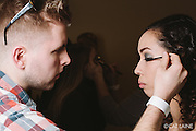 PROVIDENCE, RI - FEB 13: Jake Blanchette gets Sheila Sanchez ready for the Alistair Archer show at StyleWeek NorthEast on February 13, 2015 in Providence, Rhode Island. (Photo by Cat Laine)