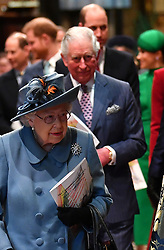 Queen Elizabeth II followed by the Prince of Wales, the Duke of Cambridge and the Duke of Sussex at the Commonwealth Service at Westminster Abbey, London on Commonwealth Day. The service is the Duke and Duchess of Sussex's final official engagement before they quit royal life.