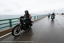Pat Patterson riding his 1946 Harley-Davidson Flathead in the Cross Country Chase motorcycle endurance run from Sault Sainte Marie, MI to Key West, FL. (for vintage bikes from 1930-1948). Stage 1 from Sault Sainte Marie to Ludington, MI USA. Friday, September 6, 2019. Photography ©2019 Michael Lichter.