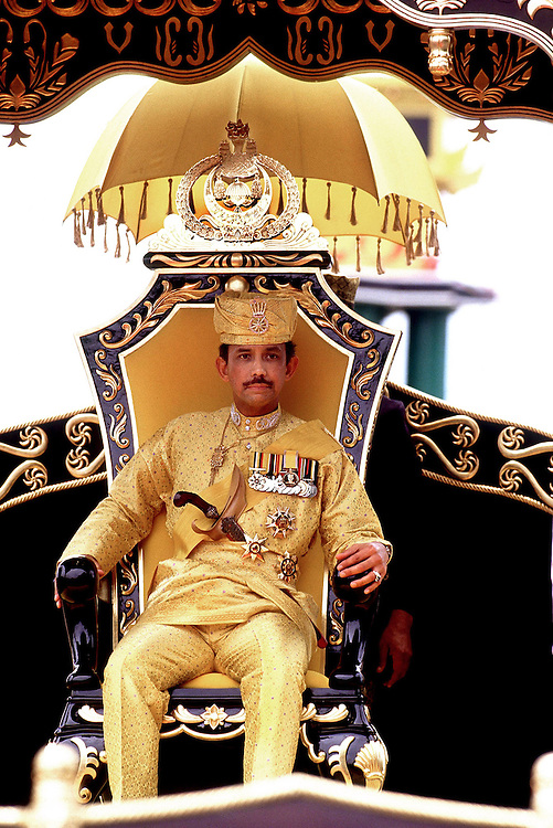 His Majesty The Sultan and Yang Di-Pertuan of Brunei Darrussalam seen in Brunei in 1992 in ceremonial dress to celebrate his Silver Jubilee. Photographed by Jayne Fincher