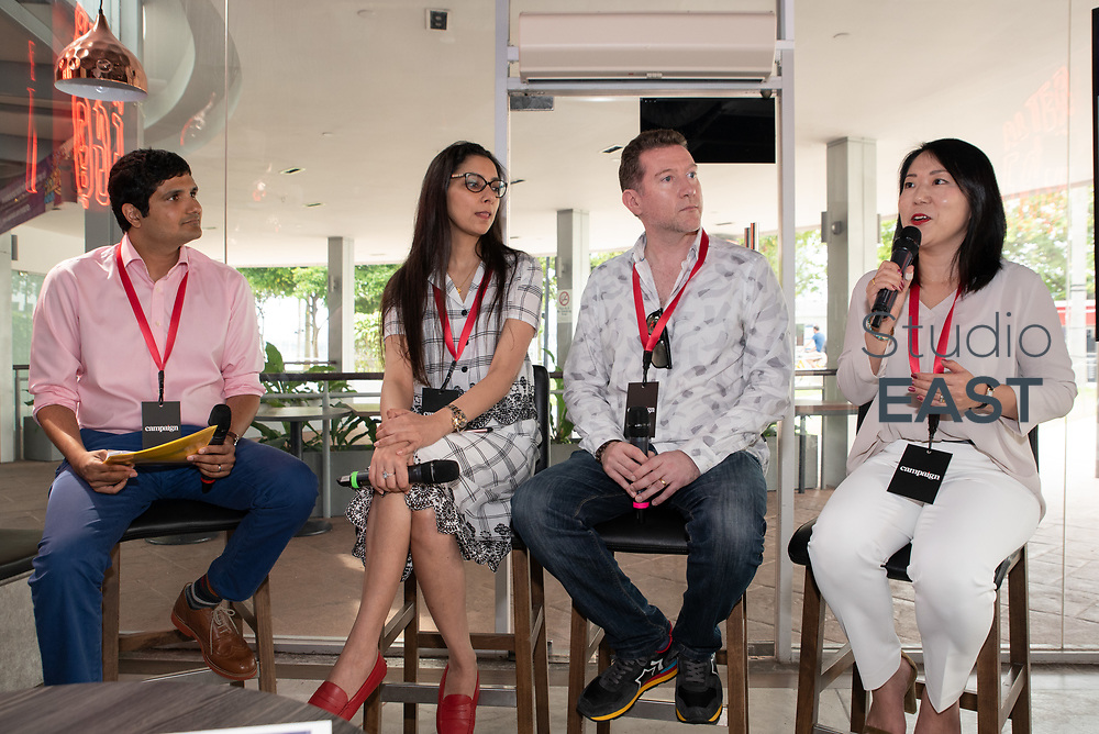 """""""Brands becoming culture"""" panel session with moderator Faaez Samadi, Southeast Asia Editor, Campaign Asia-Pacific, and speakers Haruna McWilliams, Vice President of Strategy, Essence, Kaveri Khullar, Marketing Director SEA, Mastercard, Joël Céré, Co-Founder, Flying Fish Lab, during Asia's Top 1000 Brands in Esplanade, Singapore, Singapore, on 6 September 2018. Photo by Steven Lui/Studio EAST"""