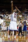 Jalen Jones #21 of the SMU Mustangs makes a free-throw after a flagrant foul by the Memphis Tigers at Moody Coliseum on Wednesday, February 6, 2013 in University Park, Texas. (Cooper Neill/The Dallas Morning News)