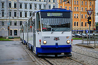 RIGA, LATVIA - CIRCA MAY 2014: Tramway in the streets of Riga