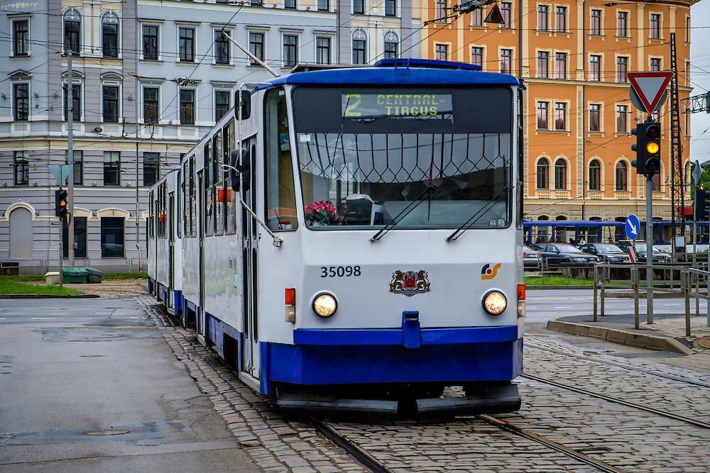 RIGA, LATVIA - CIRCA MAY 2014: Tramway in the streets of Riga