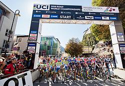 Ziga Jerman, Nik Cemazar, Ziga Horvat, Tadej Pogacar, Izidor Penko and Jaka Primozic of Slovenia during the Men Under 23 Road Race 179.9km Race from Kufstein to Innsbruck 582m at the 91st UCI Road World Championships 2018 / RR / RWC / on September 28, 2018 in Innsbruck, Austria.  Photo by Vid Ponikvar / Sportida