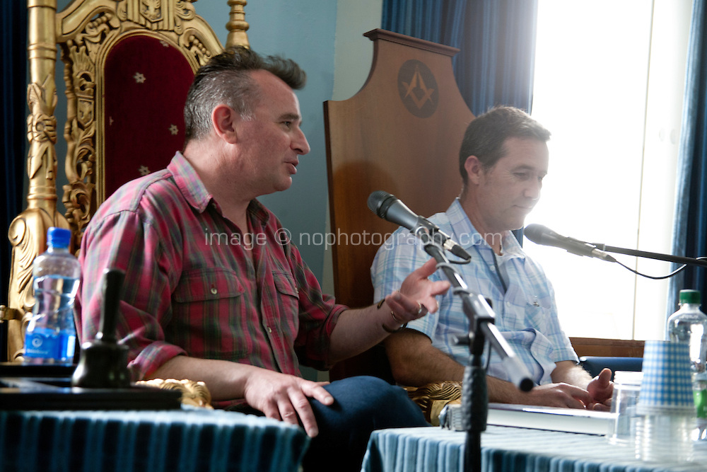 Irish crime writers Declan Hughes and Declan Burke discuss 'Emerald Noir', current Irish crime fiction at the Dalkey Book Festival, Dalkey, County Dublin, Ireland. Saturday 21st June 2014.