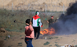 May 3, 2019 - Burij, Gaza Strip, Palestinian Territory - Palestinian protesters clash with Israeli troops following the tents protest where Palestinians demand the right to return to their homeland at the Israel-Gaza border, in the central Gaza Strip, May 3, 2019.  Three Palestinians were killed Friday by the Israeli military in Gaza, health ministry reports  (Credit Image: © Mahmoud Khattab/APA Images via ZUMA Wire)