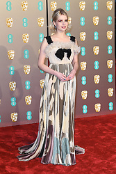 Lucy Boynton attending the 72nd British Academy Film Awards held at the Royal Albert Hall, Kensington Gore, Kensington, London.<br />