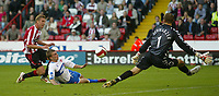 Photo: Aidan Ellis.<br /> Sheffield United v Middlesbrough. The Barclays Premiership. 30/09/2006.<br /> Sheffield's Rob Hulse beats Boro defender Andrew Davies and Keeper Mark Schwazer to score the first goal