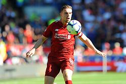 Jordan Henderson of Liverpool tries to control the ball- Mandatory by-line: Nizaam Jones/JMP - 21/04/2019 -  FOOTBALL - Cardiff City Stadium - Cardiff, Wales -  Cardiff City v Liverpool - Premier League