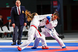 November 10, 2018 - Madrid, Madrid, Spain - Goranova Ivet (BUL) figth with Yamada Sara (JPN) for third place of Female Kumite -55 Kg during the Finals of Karate World Championship celebrates in Wizink Center, Madrid, Spain, on November 10th, 2018. (Credit Image: © AFP7 via ZUMA Wire)