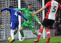 Football - 2017 / 2018 Premier League - Chelsea vs. Southampton<br /> <br /> Southampton goalkeeper, Fraser Forster, cuts down the angle for Cesc Fabregas at Stamford Bridge.<br /> <br /> COLORSPORT/ANDREW COWIE