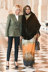 French President's wife Brigitte Macron welcomes Tchad's President's wife Hinda Deby Itno as they take part in a spousal event at the Chateau de Versailles in Versailles, near Paris, on November 11, 2018 as part of commemorations marking the 100th anniversary of the 11 November 1918 armistice, ending World War I. Photo By Laurent Zabulon/ABACAPRESS.COM