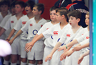 Picture by Andrew Tobin/Focus Images Ltd +44 7710 761829.26/05/2013.England mascots hold their hands out waiting for the England players to take them onto the pitch before the match between England and the Barbarians at Twickenham Stadium, Twickenham.