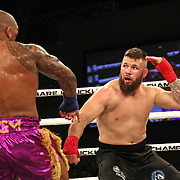 FORT LAUDERDALE, FL - FEBRUARY 15: Hector Lombard (L) fights David Mundell during the Bare Knuckle Fighting Championships at Greater Fort Lauderdale Convention Center on February 15, 2020 in Fort Lauderdale, Florida. (Photo by Alex Menendez/Getty Images) *** Local Caption *** Hector Lombard; David Mundell