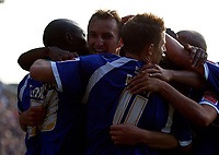 Photo: Olly Greenwood.<br />Crystal Palace v Cardiff City. Coca Cola Championship. 14/10/2006. Cardiff's Riccardo Scimeca celebrates scoring the winning goal with his team mates