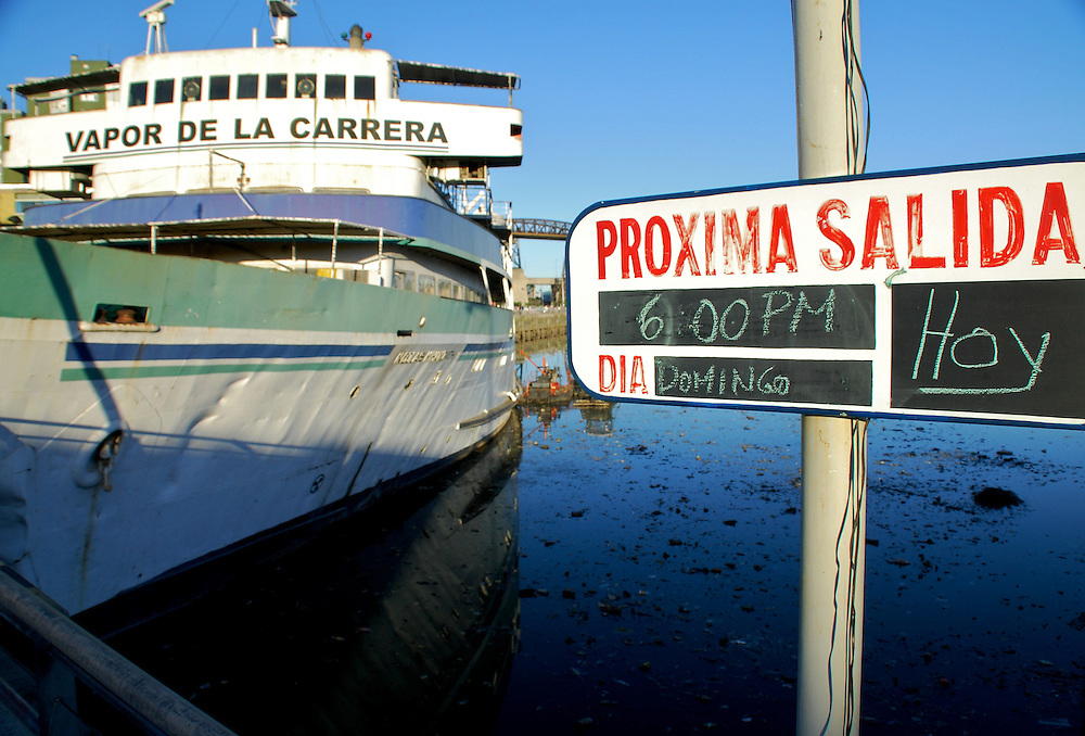 """Vapor de la Carrera is docked the Popular """"Barrio de la Boca"""" in Buenos Aires, Argenitna, a Restaurant is now in operation there. In the old days connected Buenos Aires with Montevideo in Uruguay"""