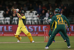 David Warner of Australia square drives a delivery during the 5th ODI match between South Africa and Australia held at Newlands Stadium in Cape Town, South Africa on the 12th October  2016<br /> <br /> Photo by: Shaun Roy/ RealTime Images