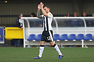 Gillingham defender Barry Fuller (12) clapping during the EFL Sky Bet League 1 match between AFC Wimbledon and Gillingham at the Cherry Red Records Stadium, Kingston, England on 23 March 2019.