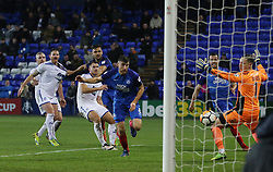 Jack Baldwin of Peterborough United heads in his sides third goal of the game - Mandatory by-line: Joe Dent/JMP - 15/11/2017 - FOOTBALL - Prenton Park - Birkenhead, England - Tranmere Rovers v Peterborough United - Emirates FA Cup first round replay