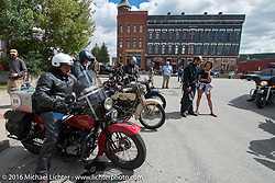 Kenney Sweeney on his 1934 Harley-Davidson VLD getting ready to leave Leadville, Colorado after the hosted Elks Club lunch during Stage 10 (278 miles) of the Motorcycle Cannonball Cross-Country Endurance Run, which on this day ran from Golden to Grand Junction, CO., USA. Monday, September 15, 2014.  Photography ©2014 Michael Lichter.