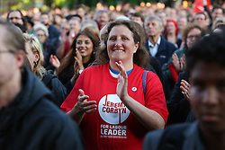 © Licensed to London News Pictures. 19/08/2016. Sheffield, UK. Huge crowds turn out to see Jeremy Corbyn speaks at a campaign rally in Sheffield, South Yorkshire, during the 2016 Labour leadership election. Photo credit : Ian Hinchliffe/LNP