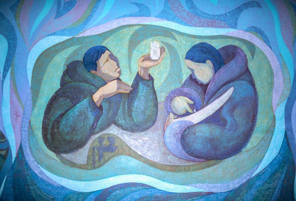 Wall mural, Uelen Art Studio Village of Uelen, Chukotsk Peninsula, Northeast Russia, 1992