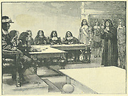 Titus Oates (1649-1705) interrogated by the King's Council, 28 September 1678. Oates was the inventor of the Popish Plot, a supposed Roman Catholic conspiracy to kill Charles II.  On his false evidence up to 15 people were executed and many other imprisoned  under suspicion. Engraving.