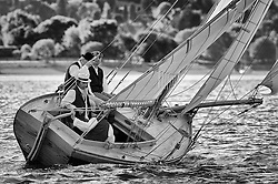"""Ayrshire Lass 1887 Gaff Cutter at the Lay day at Rhu.<br /> Limited to ten prints in Black & White, printed on fine art paper 24""""x16"""", stamped and signed."""