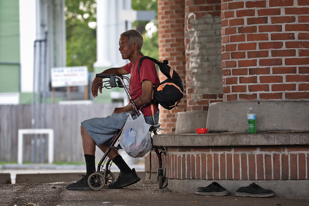 Homeless man in New Orleans, after the shelter in place order. The city provided some housing for the homeless, but some still remain on the streets.