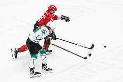 SIROVNIK Nik vs BERNARD Jakob during Alps League Ice Hockey match between HDD SIJ Jesenice and HK SZ Olimpija on March 2, 2020 in Ice Arena Podmezakla, Jesenice, Slovenia. Photo by Peter Podobnik / Sportida