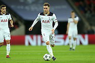 Christian Eriksen of Tottenham Hotspur in action. UEFA Champions league match, group E, Tottenham Hotspur v CSKA Moscow at Wembley Stadium in London on Wednesday 7th December 2016.<br /> pic by John Patrick Fletcher, Andrew Orchard sports photography.